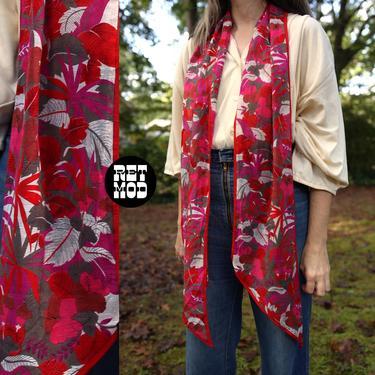 Lovely Vintage 70s 80s Red Floral Oscar de la Renta Long Cotton Boho Scarf by RETMOD