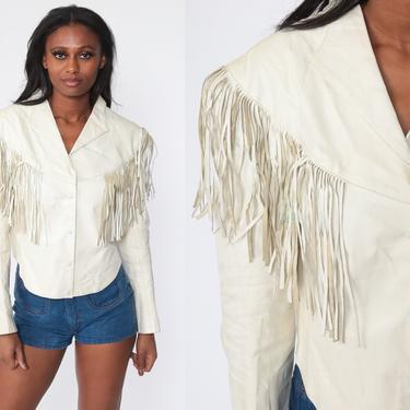 FRINGE Leather Jacket 80s Boho White Leather Jacket SOUTHWESTERN Vintage Coat Bohemian Hippie 1980s Small by ShopExile