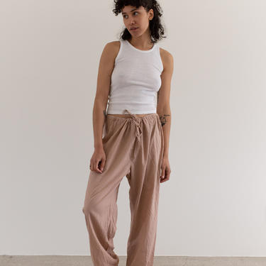 Vintage Rinsed Pink Drawstring Easy Pant   High Waist Cotton Beach Pants   M L    by RAWSONSTUDIO