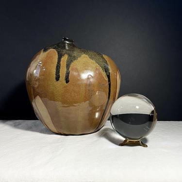 Large, Vintage Studio Pottery Weed Pot, Vase, Shelf Decor - Rustic Boho, Drip Glaze, Art Pottery, Handmade, Mid Century Modern by VenerablePastiche