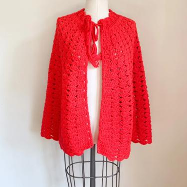 Vintage 1970s Red Knit Poncho / fit on most by MsTips
