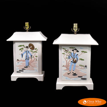 Pair of Hand-painted Ceramic Pagoda Table Lamps