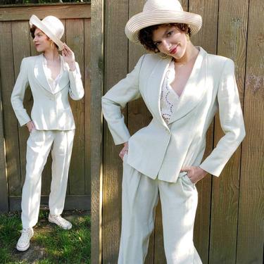 1980s Armani Pants Suit Beige Linen / 80s Designer Blazer Jacket Trousers Slacks Set Ensemble Light Gray Neutrals Minimalist / M / Myline by RareJuleVintage