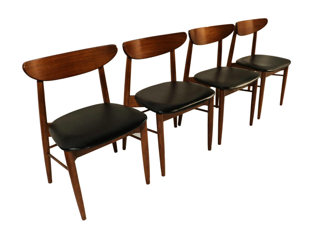 Lane Mid Century Modern Walnut Dining Chairs By