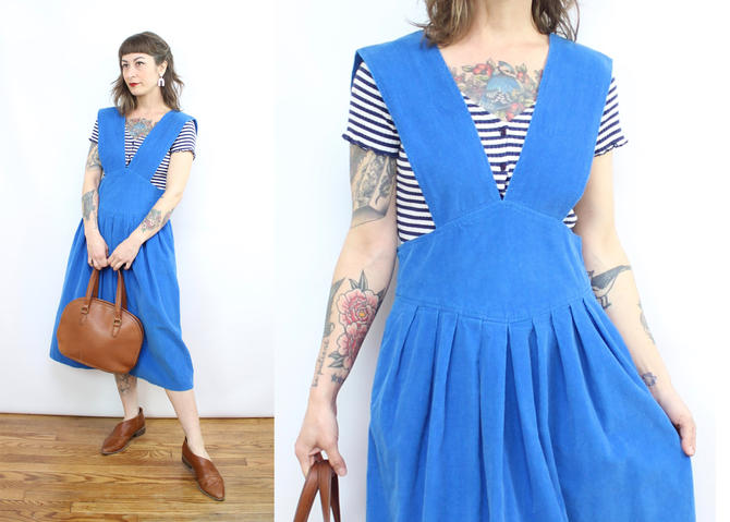 Vintage 80's Blue Corduroy Pinafore Dress / 1980's Jumper Dress / Women's Size Medium by RubyThreadsVintage