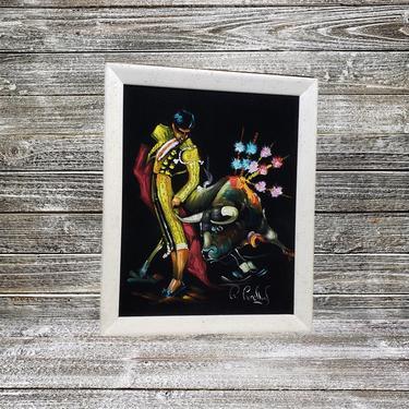 Vintage Torero Black Velvet Painting, 1970s Velvet Matador Oil Painting, Spanish Bullfighter Framed Art, Home Decor, Vintage Wall Decor by AGoGoVintage