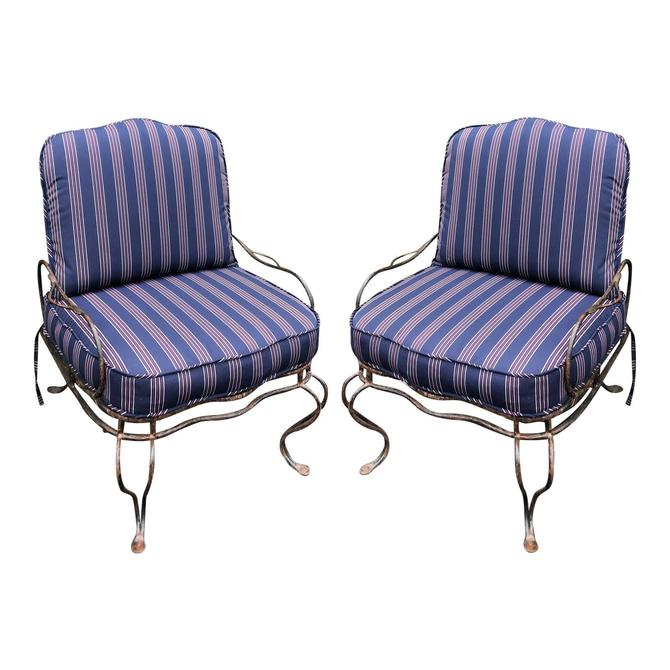 Pair of Rose Tarlow Wrought Iron Outdoor Lounge Chairs by ThriveDecor