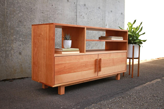 Morassi Media Console, TV Stand, Media Storage (shown in Cherry) by TomfooleryWood