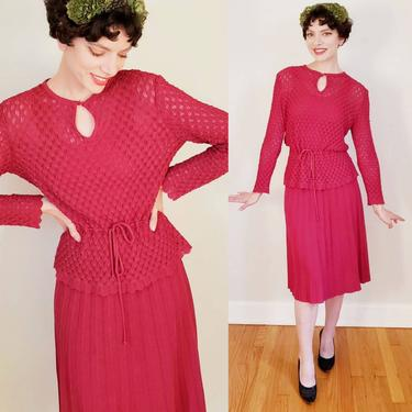 1970s Castleberry Knit Skirt Suit Cranberry Red / 70s Does 30s Burgundy Wine Knit Sweater Tunic Top Matching Pleated Midi Skirt / M / Imogen by RareJuleVintage