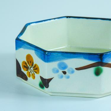 Vintage Japanese Ceramic Trinket Tray / Hand Painted Cherry Blossom Jewelry Dish by blackwellhabitat