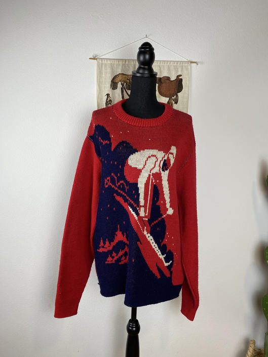 "Vintage ALPS Crewneck Sweater ""Skier"" Mens L-XL Women's Oversized by DesertCactusVintage"