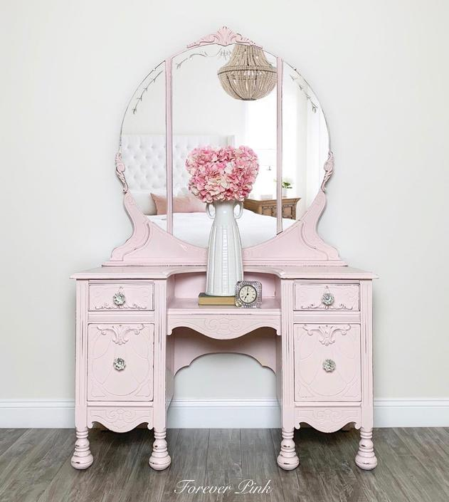 Vintage Pink Four Drawer Vanity with Round Mirror by ForeverPinkVintage