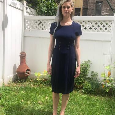 Crinkled Navy Dress