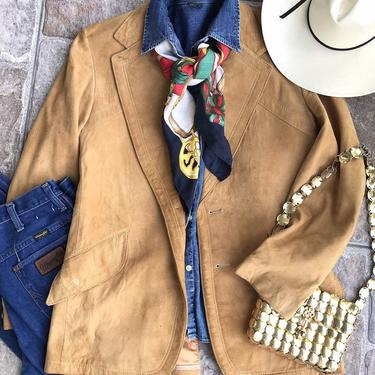 1970's Tan Suede Wide Lapel Blazer Womens size XL Western Style Jacket by TheUnapologeticSoul