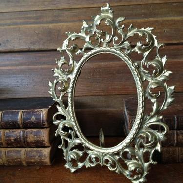 Victorian Picture Frame, Brass Relief Floral Leaf Design Photo Vanity Mirror Stand by JansVintageStuff