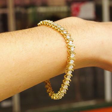 "Vintage 14K Gold Diamond 'S' Tennis Bracelet, 40 Brilliant Diamonds, 5 TCW, Accent Gold Link Design, Elegant Diamond Bracelet, 7 1/2"" L by shopGoodsVintage"