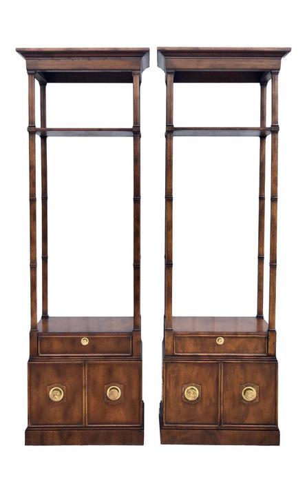 Pair of Vintage Hollywood Regency Tall Pecan Etageres by 2ndStoryTradingCo