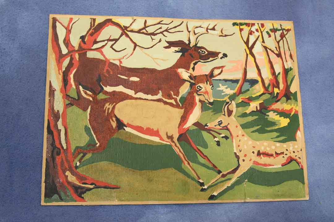 Vintage Youth Paint By Number Deer Family Painting 1940s