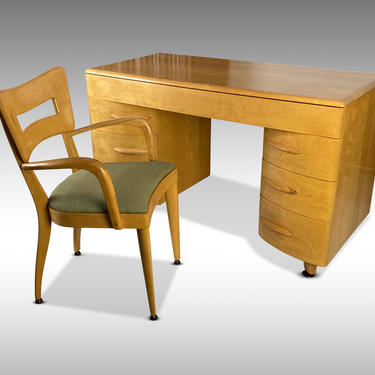 1950s Desk M-315-W (with Chair) by Count Alexis de Sakhnoffsky for Heywood Wakefield - *Please ask for a shipping quote before you buy. by CoolCatVintagePA