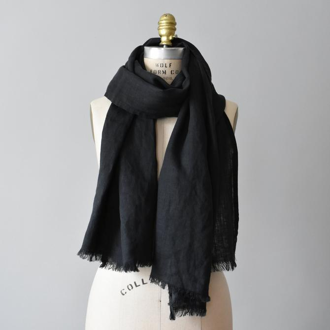 vintage linen wrap scarf / oversized long black scarf by ImprovGoods