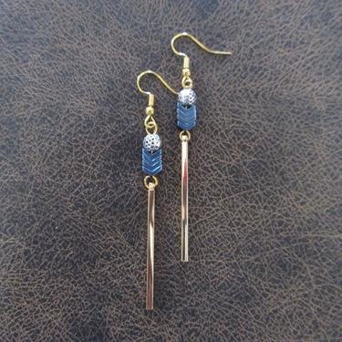 Minimalist earrings, long geometric good earrings, mid century modern earrings, Brutalist earrings, Simple blue hematite earrings by Afrocasian