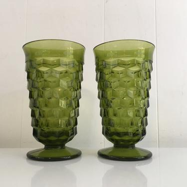 Vintage Iced Tea Glasses Set of Two (2) Indiana Glass Whitehall Pattern Olive Green Avocado Highball Glasses 1960s Pedestal by CheckEngineVintage