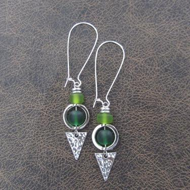 Green sea glass earrings, boho chic earrings, tribal ethnic earrings, bold long silver earrings, unique artisan earrings, bohemian by Afrocasian