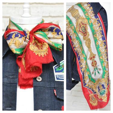 Vintage Oscar De La Renta Red Gold Baroque Print Long Silk Scarf by TheUnapologeticSoul