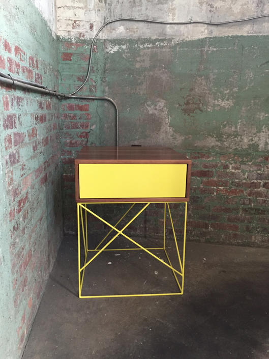 Solid Wood Side Table with Steel Panel Drawer and Geometric Steel Base by PWHFurniture