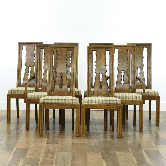 Set 8 American Of Martinsville Pecan Dining Chairs