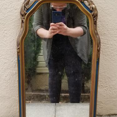 Vintage Petite Federal Style Navy Blue Accented Gold Mirror