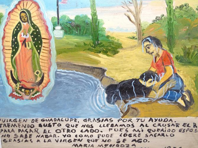 Vintage Ex Voto, Mexican Votive Painting on Tin, Woman Thanking Our Lady Virgin Mary for Miracle Performed by exploremag