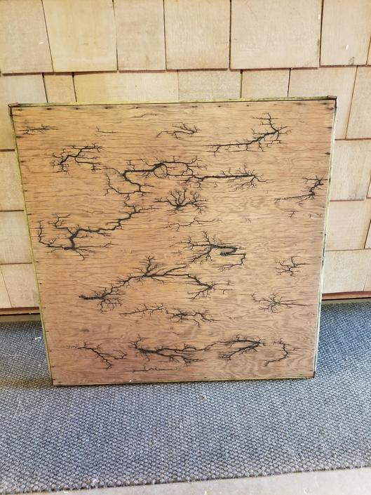 "Vintage Card Table with Wood Burn Application 29"" by 29"" W and 26"" H"