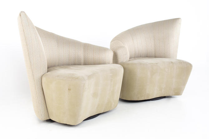 Vladimir Kagan Mid Century Bilbao Swivel Lounge Chairs - A Pair - mcm by ModernHill