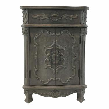 Currey & Co. Traditional Carved Gray Wood Caliban Cabinet/Side Table