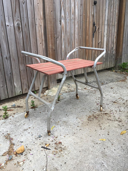 Vintage Patio Aluminum Wood Slat Rolling Cart Bar by UrbanInteriorsBalt