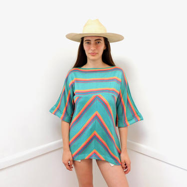 Chevron Knit Sweater // vintage 70s rainbow boho hippie dress blouse top shirt striped 1970s green // S/M by FenixVintage