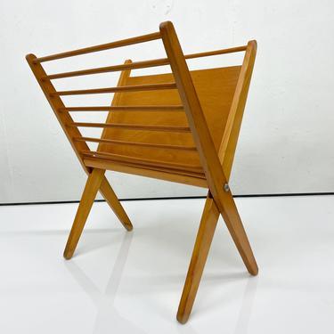 Mid Century Modern Sculptural Magazine Holder Rack Yugoslavia Blond Wood by AMBIANIC