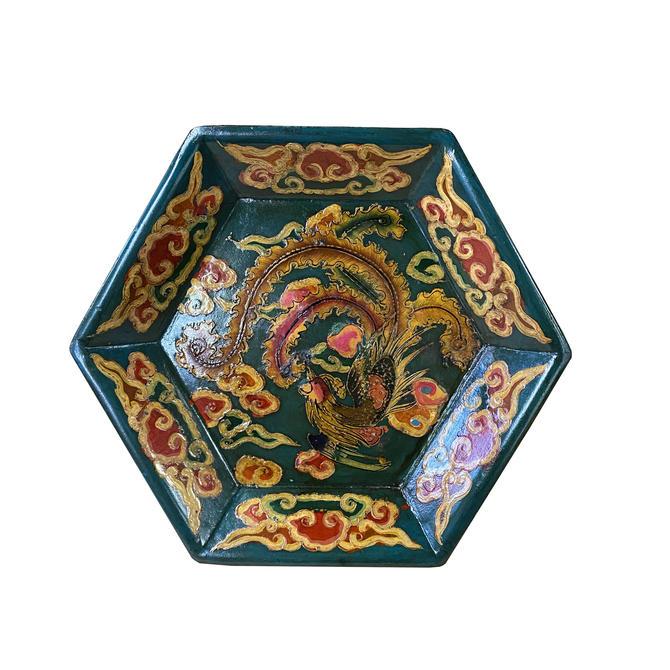 Tibetan Style Handmade Teal Green Phoenix Paint Hexagon Tray ws1289E by GoldenLotusAntiques
