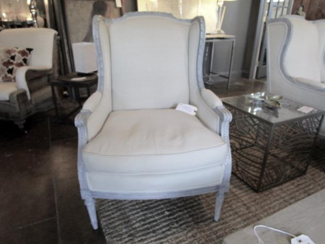 PAIR OF FRENCH WING BACK CHAIRS PRICED SEPARATELY