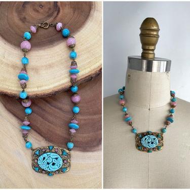 CZECH PLEASE Vintage 30s Necklace | 1930s Czechoslovakian Pink & Blue Glass Beads Carved Pendant | 20s 1920s Jewelry Flapper Art Deco Gatsby by lovestreetsf