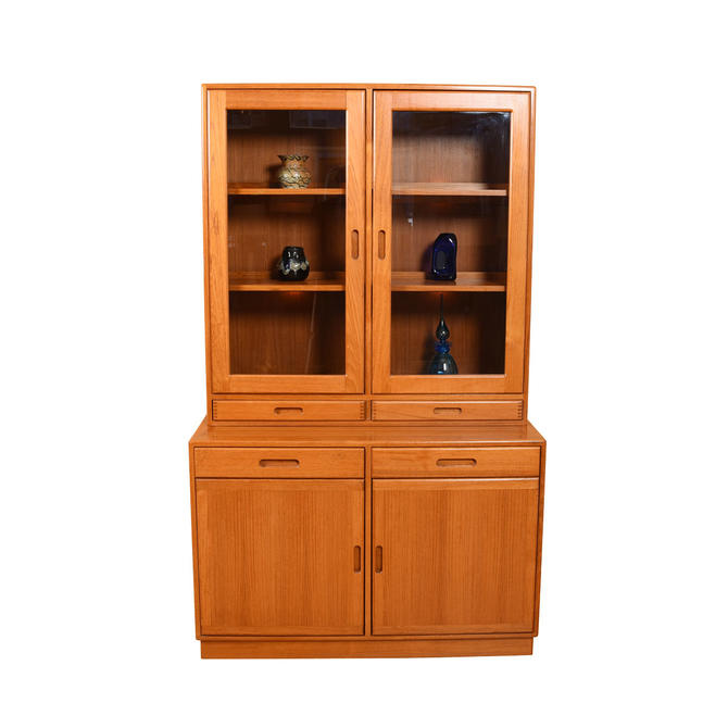 Lighted Danish Modern Teak Thin Storage / Display Cabinet