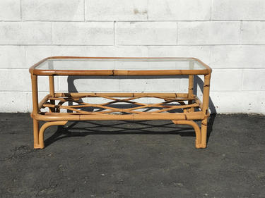 Hollywood Regency Faux Bamboo Coffee Table With Gl Top And Br