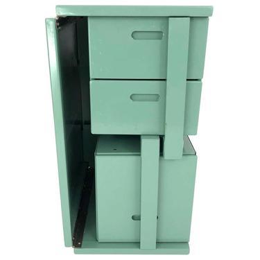 US Military Vintage Folding Celadon Green Painted Metal Field Desk