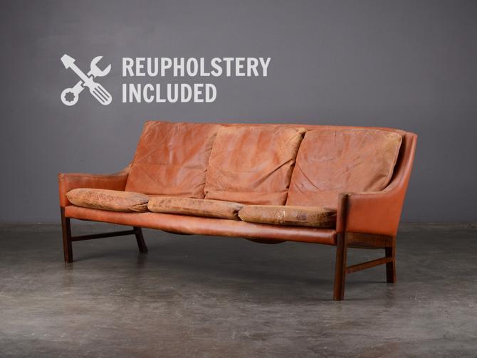 Mid-century Leather Sofa Fredrik Kayser Danish Modern by MadsenModern