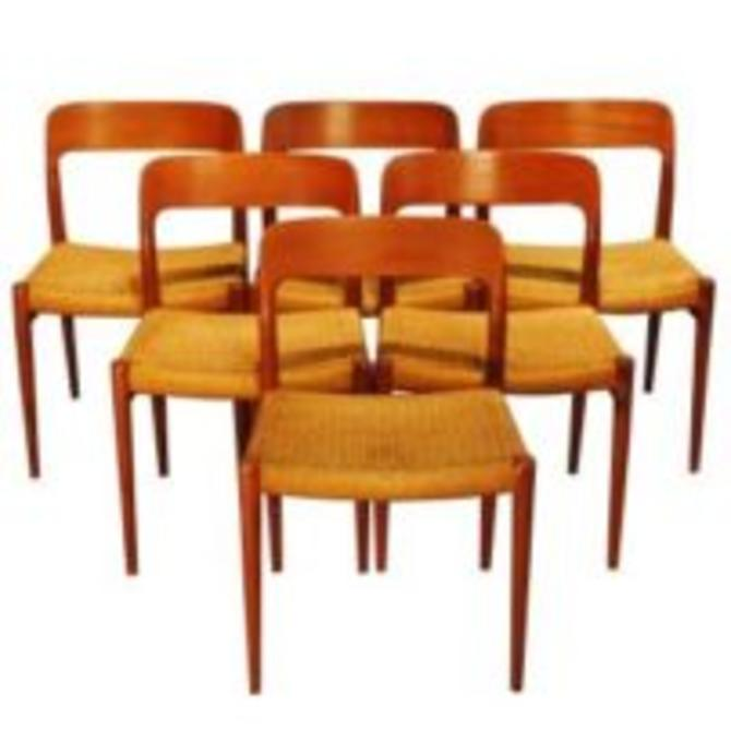 14309 Niels Otto Moller Designed Set of Six Model 75 Teak Dining Chairs, circa 1954 SOLD