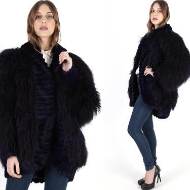 Purple Mongolian Lamb Fur Coat Real Tibetan Fur Jacket Vintage 80s Plum Shaggy Curly Sheared Rabbit Oversize Women Avant Garde Jacket by americanarchive