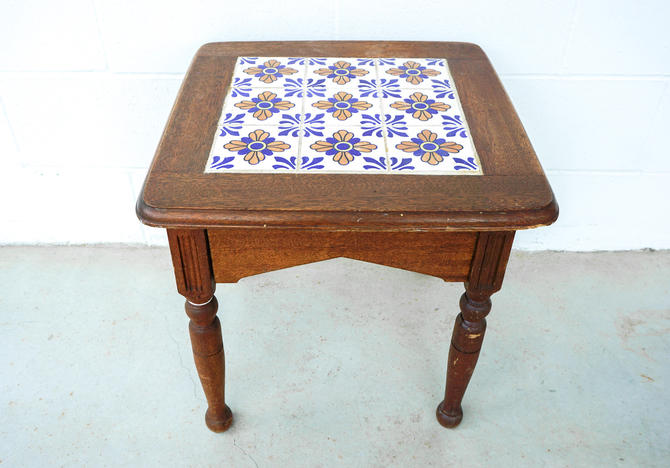 Vintage Hand Painted Tile and Solid Wood Accent Table by PortlandRevibe
