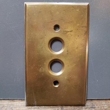 Antique Cast Brass Single Push Button Switchplate