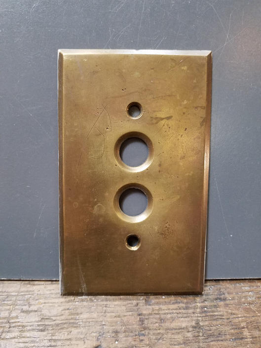 Antique Cast Brass Single Push Button Switchplate